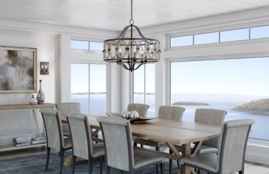 Kalco Belmont Chandelier Over A Dining Table