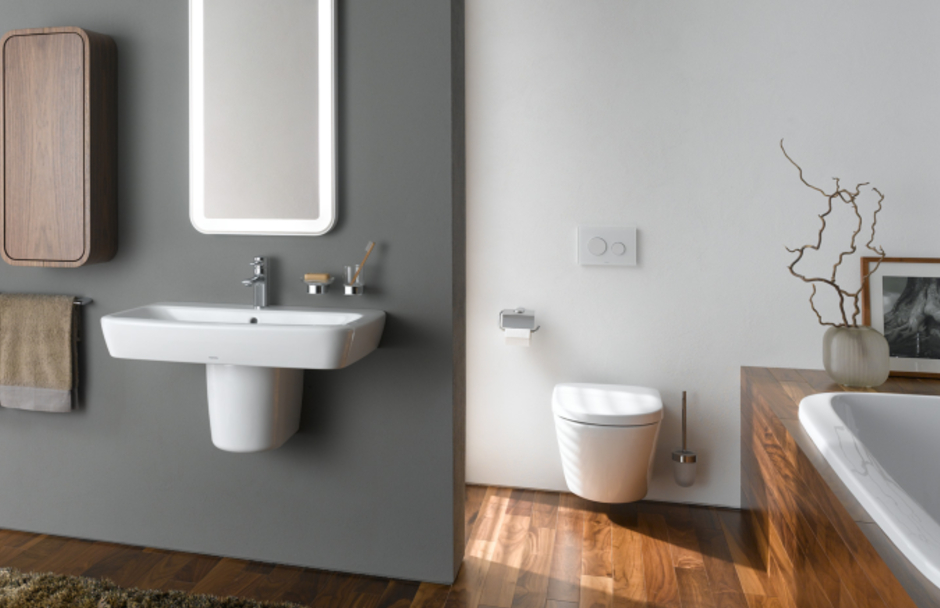 TOTO bathroom with floating sink and toilet