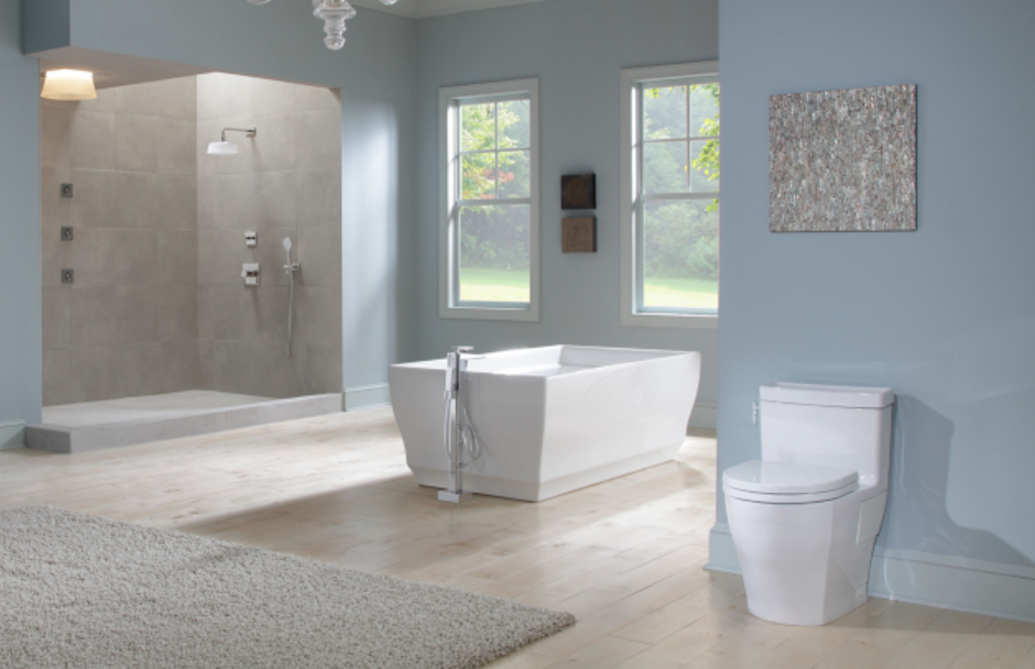 TOTO Bathroom suite with walk in shower and freestanding tub