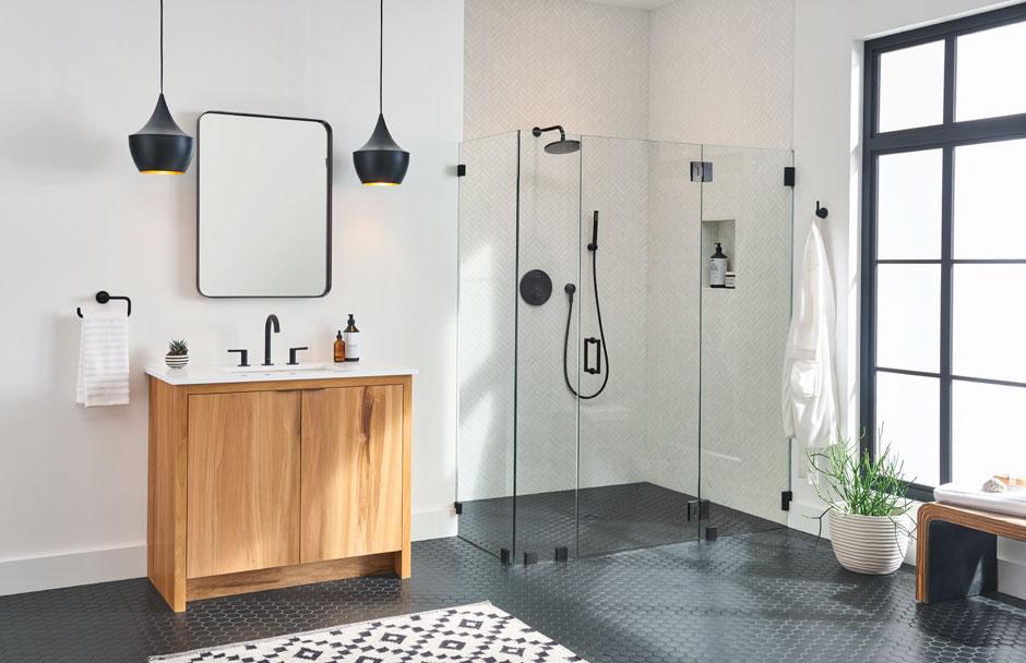 American Standard matte black bathroom accessories