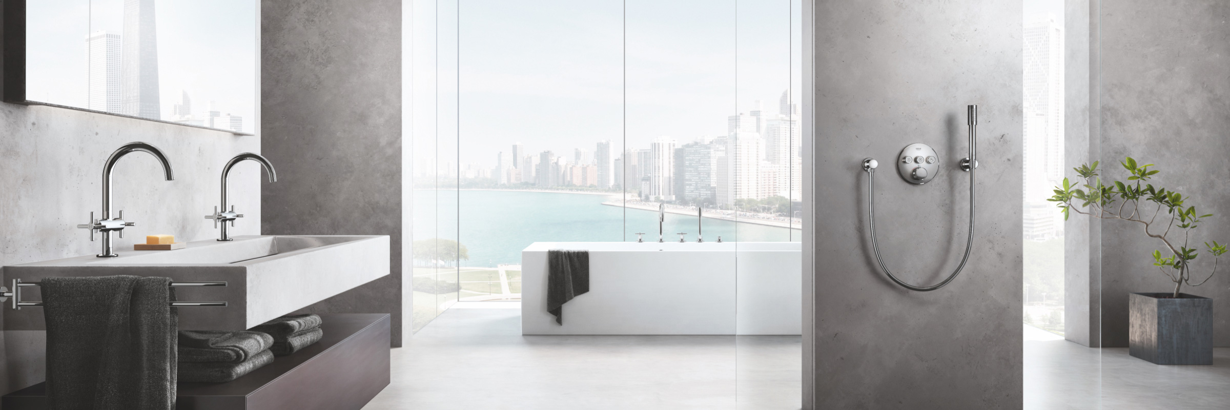 Bathroom concept with double sinks, shower and tub