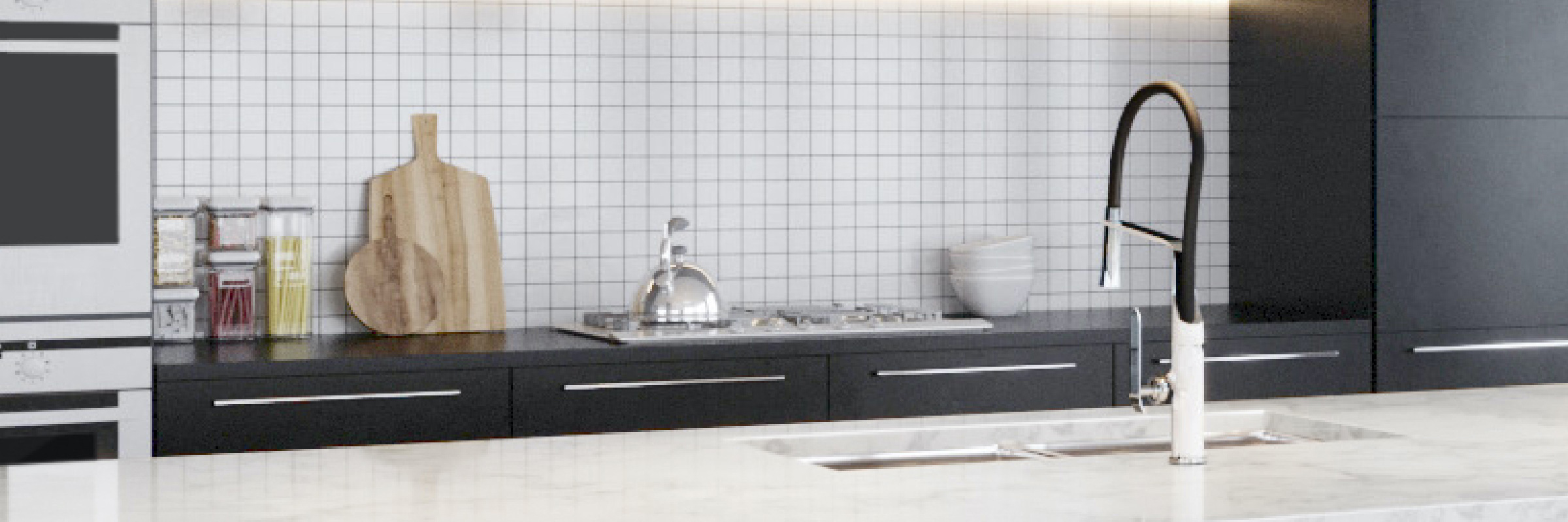 Kitchen faucet in matte black and white