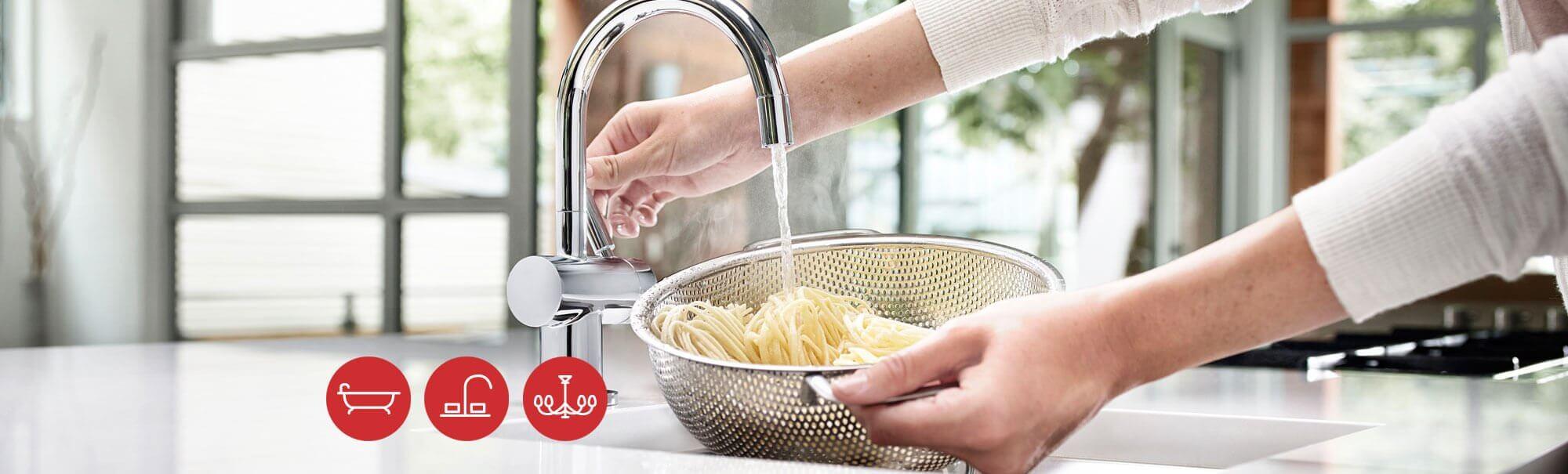 Low flow faucets kitchen bath classics for Eco friendly kitchen faucets
