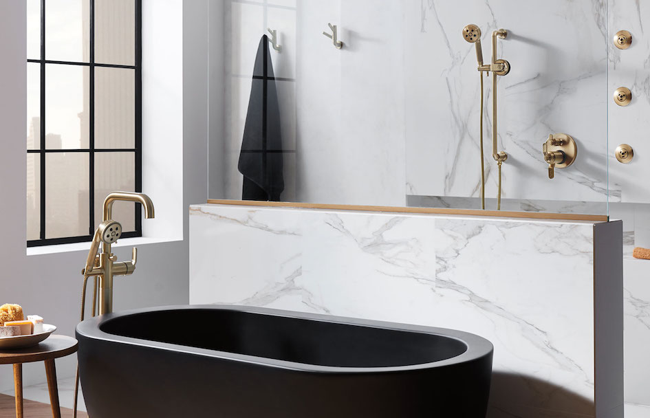 Brizo Matte Black Tub And Bronze Faucets