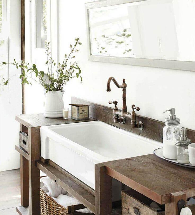 farmhouse sink in bathroom