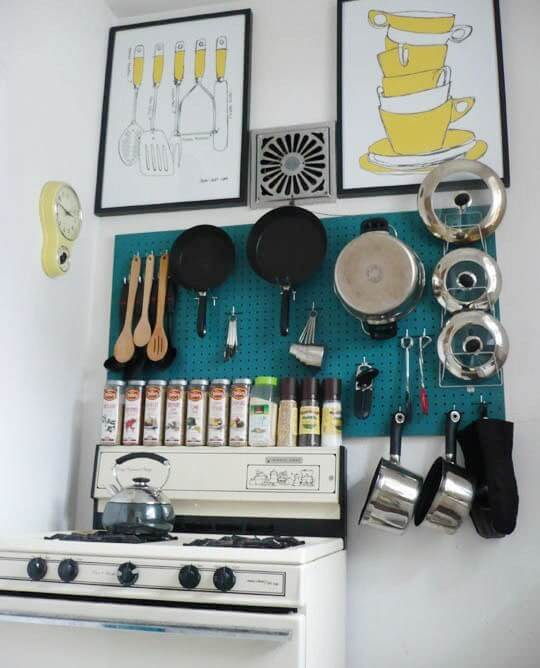8 Stellar Strategies for Making the Most of a Small Kitchen - Use Hooks or a Pegboard