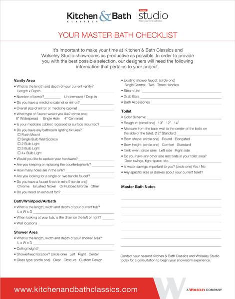 Master Bath Checklist