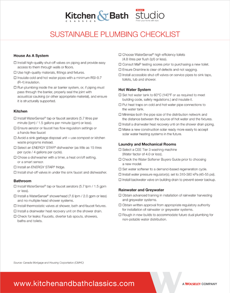 Sustainable Plumbing and Fixtures Checklist